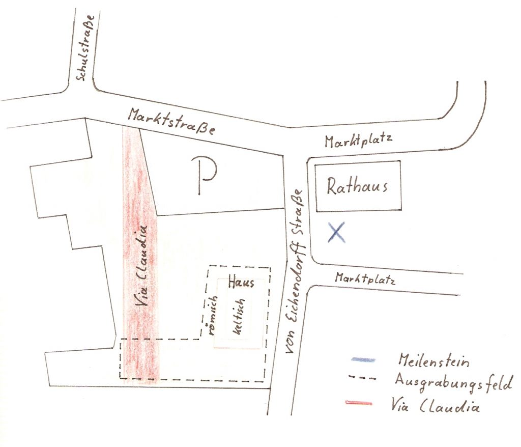 Skizze zu Ausgrabungen an der Via Claudia am Rathausplatz in Königsbrunn